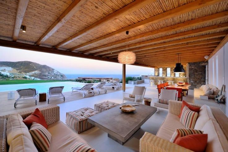 """Villa Rosalie is a luxurious Villa of high aesthetics with a private pool, located at a short distance from the cosmopolitan beach of """"Elia"""" and just 10km away from Mykonos town."""