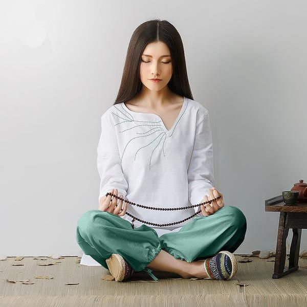 FREE SHIPPING, Women Linen Yoga Clothes Suit Embroidery Buddhist Meditation Suit Performance Clothing High Quality Quaik Dry  Shirt+ long Pants
