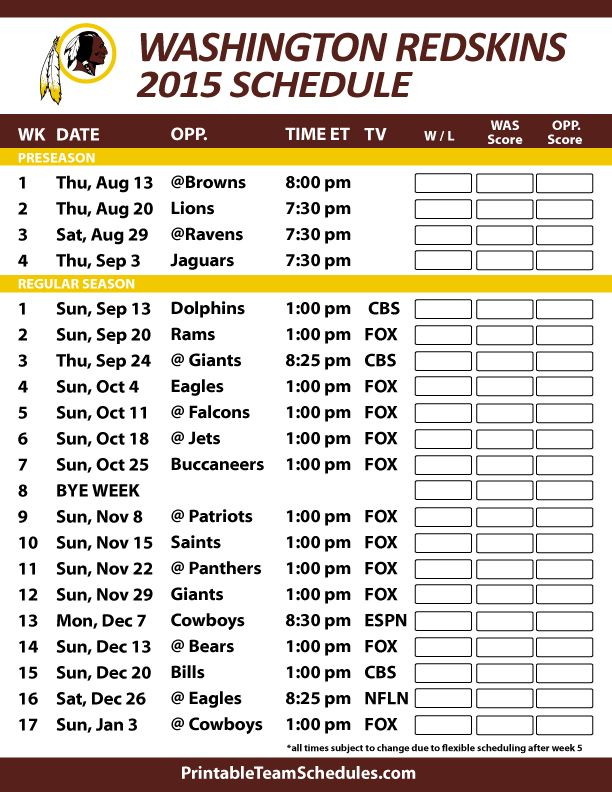 Washington Redskins 2015 Schedule. Printable version here: http://printableteamschedules.com/NFL/washingtonredskinsschedule.php