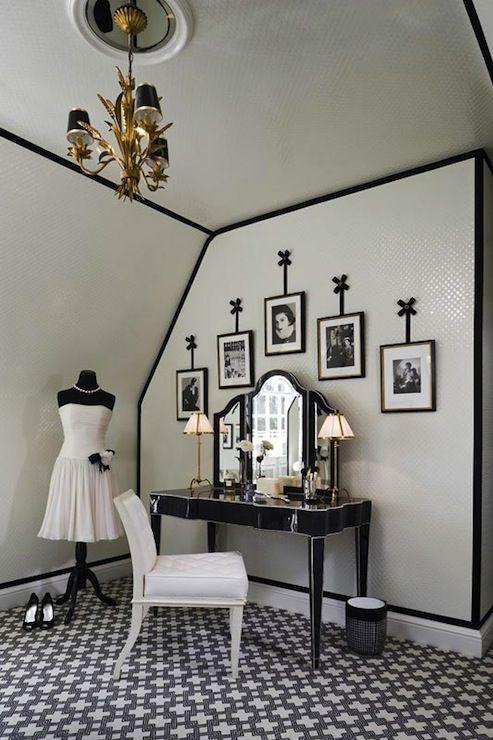 Anne Hepfer Designs: Bedroom converted into glamorous black and white vintage closet. Black and white closet ...