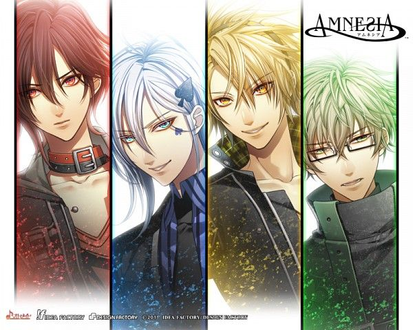 Hanamura Mai Mangaka IDEA FACTORY Studio AMNESIA Series, Visual Novel Ikki (AMNESIA) Character Kent (AMNESIA) Character Shin (AMNESIA) Character Toma (AMNESIA) Character Blue Shirt Collar (Animal) Four Males Looking Away Multi-colored Eyes Red Shirt Striped Striped Print Striped Shirt Tattoo