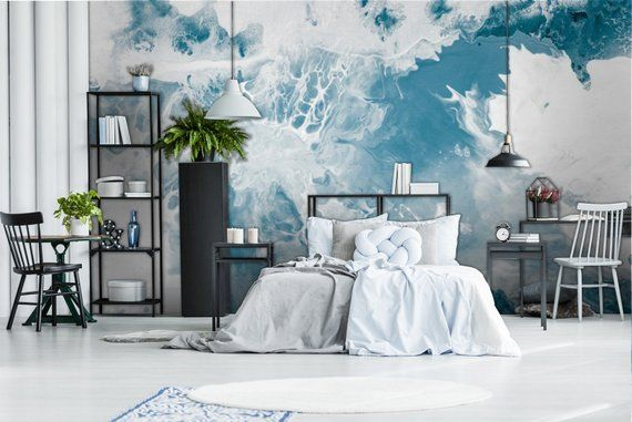 Blue Marble Texture Wallpaper Abstract Acrylic Aquatic Etsy Textured Wallpaper Black And White Wallpaper White Wallpaper