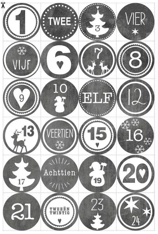 advents kalender diy - inclusief kaarten, banners, menukaarten etc.  om te printen