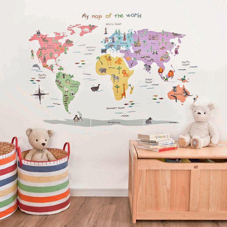Εκπληκτικά αυτοκόλλητα τοίχου με θέμα: Χάρτης του Κόσμου. Ιδανικά για το παιδικό δωμάτιο ή το νηπιαγωγείο. Η συσκευασία περιέχει 52 αυτοκόλλητα τοίχου. https://goo.gl/Xx38Jt