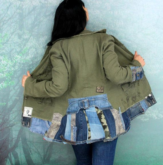 Crazy boro recycled linen and denim jeans jacket with linning. Made from upcycled linen jacket and recycled scraps of denim jeans. Appliqued. Unique