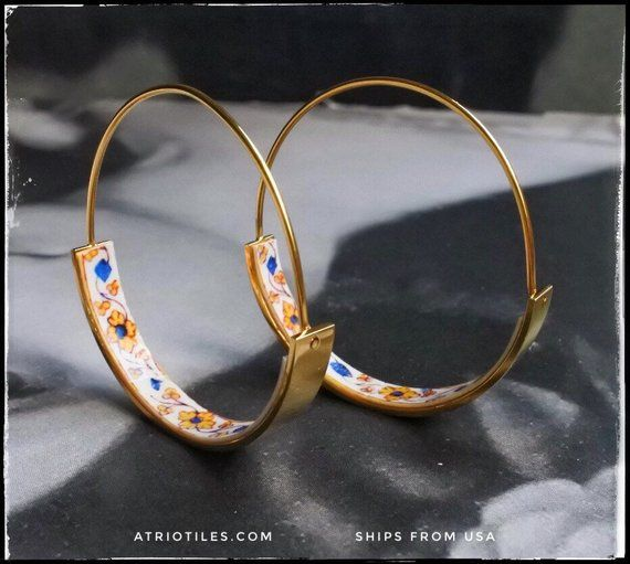 Hoops Earrings ATRIO Tile Portugal Stainless Steel Antique Azulejo – 1 1/2″ The Palace of the Marquesses of Fronteira Ships from USA