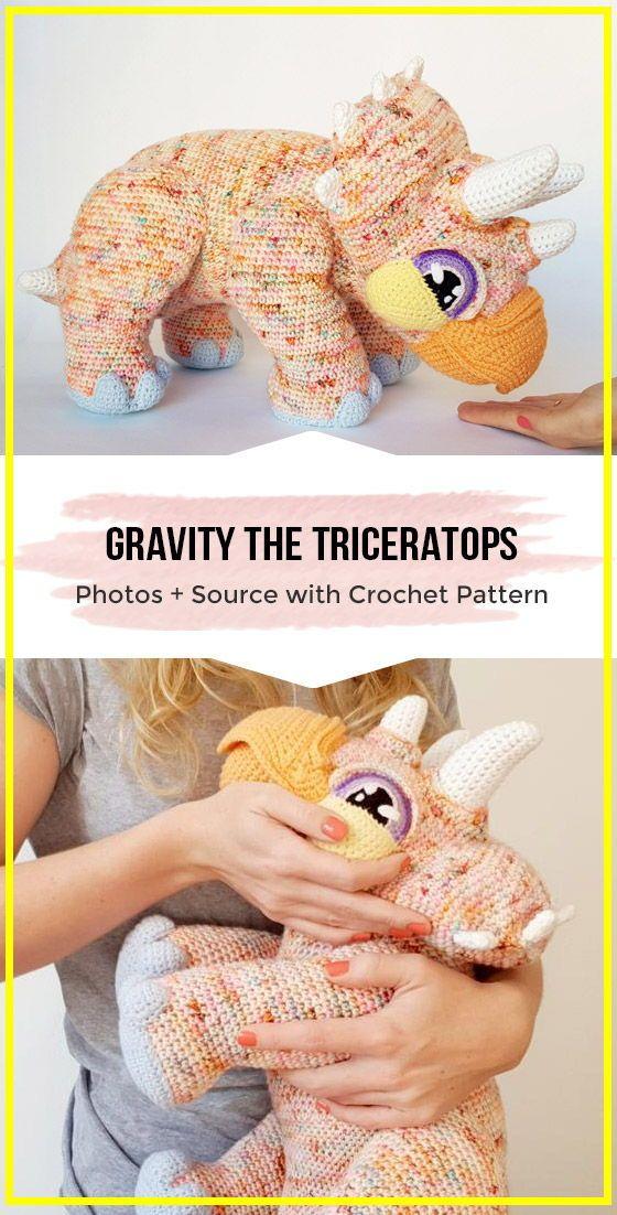 crochet Gravity the Triceratops amigurumi free pattern