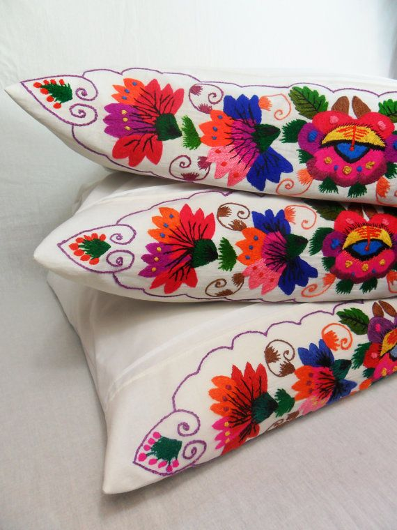 Embroidered Pillowcase Bedroom Decor Linen   Cotton Floral Embroidered Pillowcase Home Decor Ukrainian Vintage Upcycling