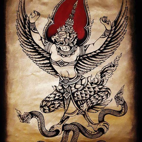 Garuda fighting naga golden painting #painting #garuda #naga #paintingbyhand #artpainting #