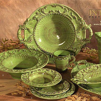 Jídelní sada * zelená ručně zdobená keramika.