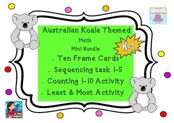 Australian Koala Number Math Ten Frames & Number Activities K-1  This resource is 14 pages...15 including cover page...  -Ten frames with cute koalas to use in your classroom 1-10 -A sequencing / ordinal number activity covering 1-5 -A number task where students record the amount they count into  the boxes -A three question more or less counting task where the students circle the group with more or less.  All of the printables are in grey scale as koalas are grey/gray and white anyway…