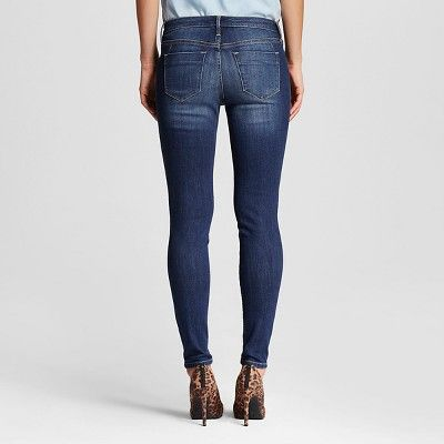Women's Mid Rise Skinny Jeans - Mossimo Dark Wash 12 Long, Blue