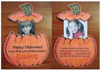 """Pumpkin activities: FREE Pumpkin craft to go along with the nursery rhyme """"Peter Peter Pumpkin Eater."""" Includes craft patterns plus a poster poem."""