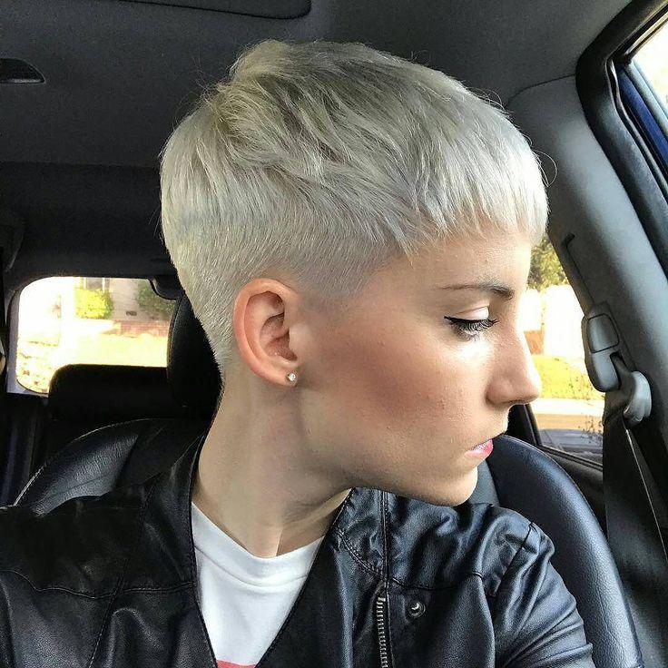 Close-Cropped Platinum-Blonde Pixie Cut