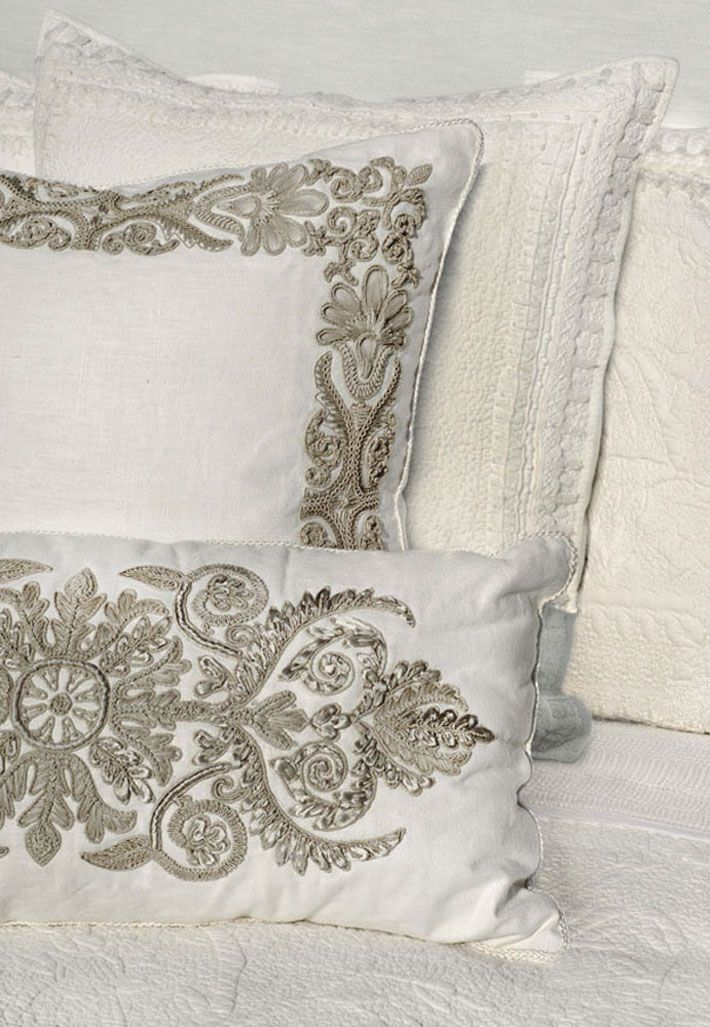 Pillows with Corded French Scrolls