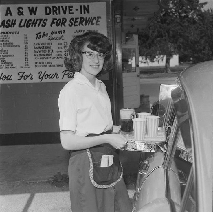 Car Hop at A & W Root Beer , Denton, Texas, 1955 -