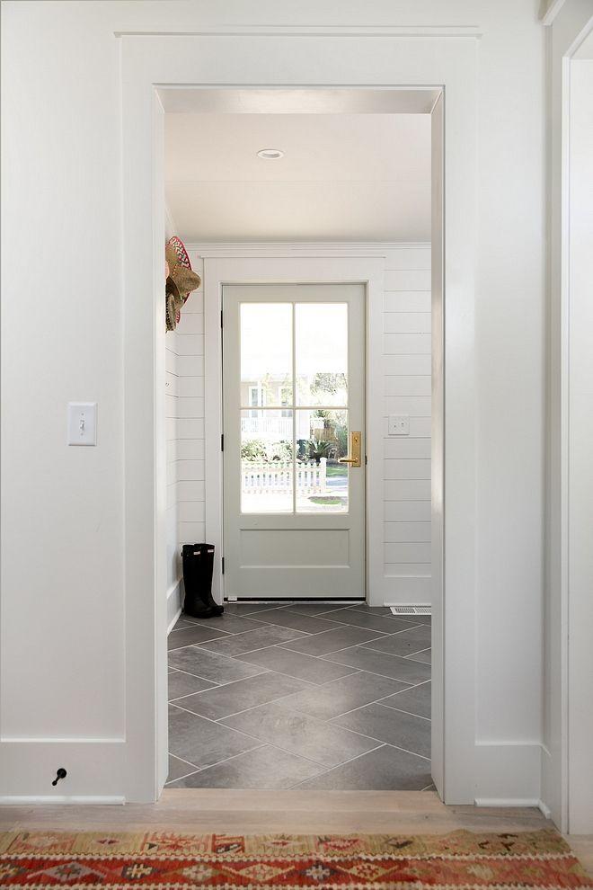 Mudroom Floor Tile 12x 24 Tile Laid In Herringbone Pattern 12x 24 Gotham Nero Grey I Would Do Darker Grout Mudroom Flooring Room Tiles Laundry Room Tile