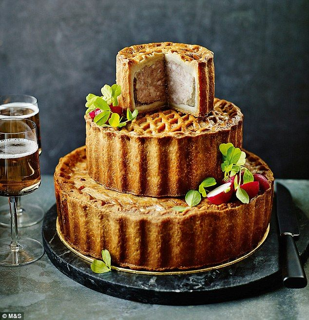 For those looking for a more savoury option, M&S offer a tiered celebration cake with a di...