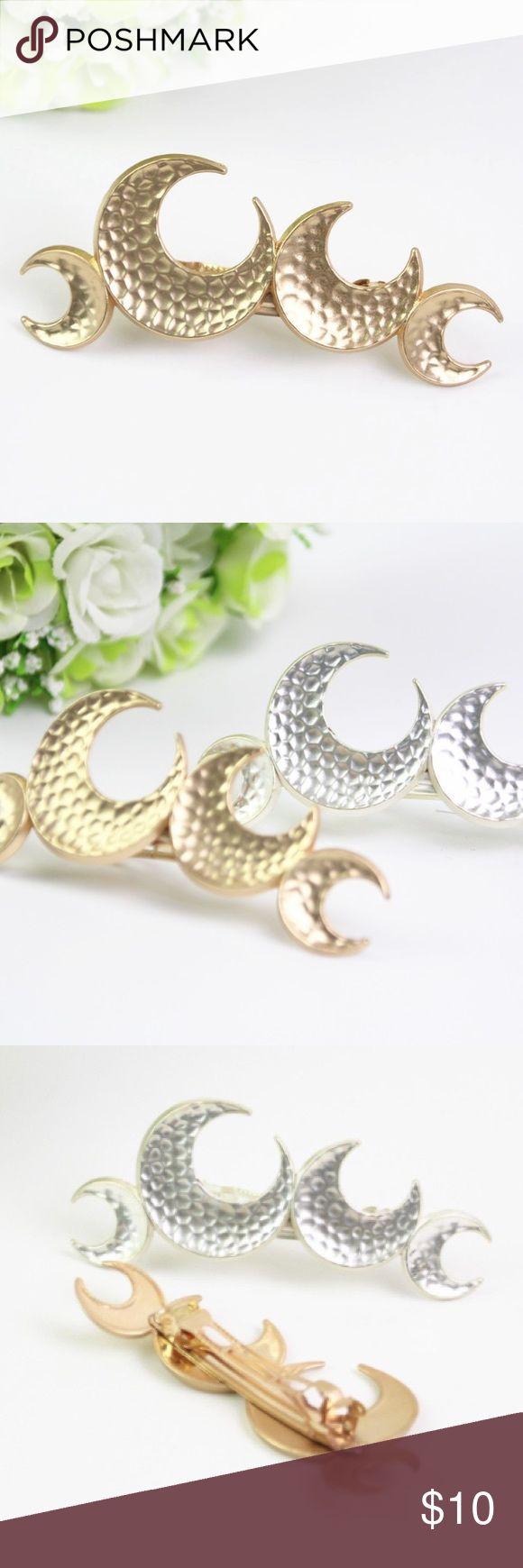 """HP Gold Moon Hair Clip Barrette Clip Matte Gold Moon Hair Clip Barrette Clip --- 4"""" x 1.5"""" Boutique Accessories Hair Accessories"""