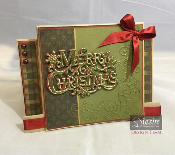Stepper card using the Festive Greeting die from the Sara Signature Traditional Christmas collection. Designed by Sam Healey #crafterscompanion #Christmas