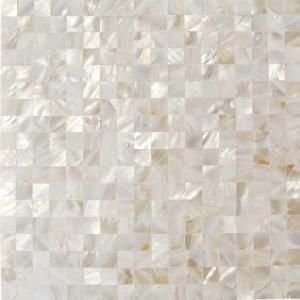 Splashback Tile Mother of Pearl White Square Pearl Shell Mosaic Floor and Wall Tile - 3 in. x 6 in. Tile Sample C3C9 at The Home Depot - Mobile