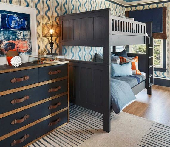 Navy Blue Boys Bunk Room By Shelley & Co. Featuring Our