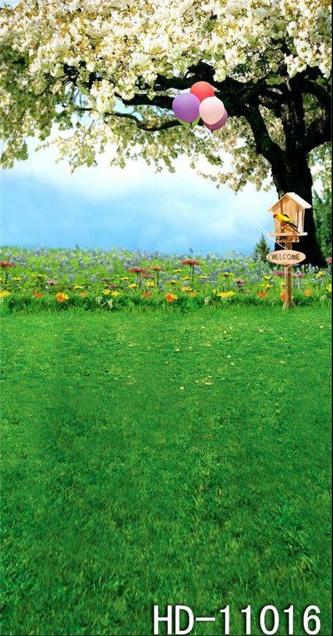 Купить товар5x7ft живопись ткань компьютер   ручная роспись стрелять студия луговые цветы дерево воздушный шар фотографии фон ткань в категории Задний планна AliExpress.                    :                     Это 5 x футов фоне!             Материал:       :