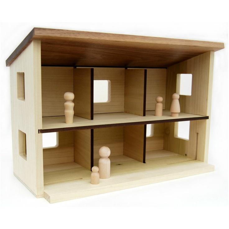 Wood Toy Barn or Dollhouse modern wooden by littlesaplingtoys