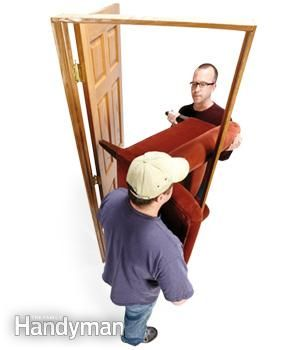 """A large easy chair can be the opposite of easy to move. Follow the example of pro movers and """"hook"""" large chairs around corners."""