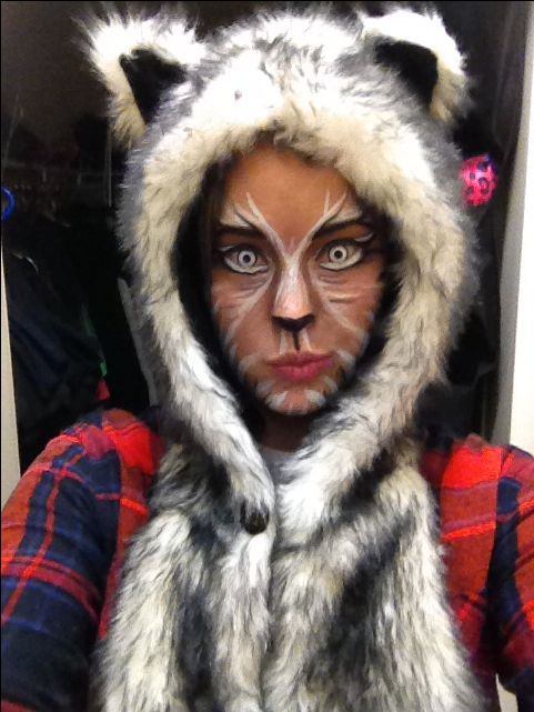 Wolf makeup, special effects makeup, wolf costume, white contacts