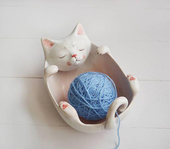 Cat bowl yarn bowl cat portrait cat figurine cat bowl