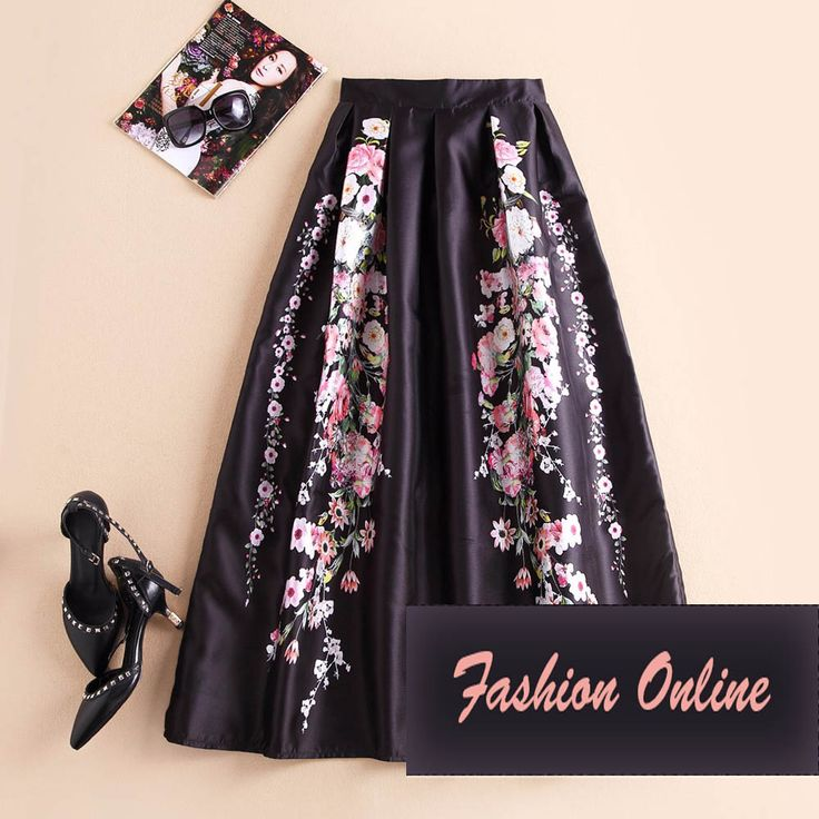 2017 Long Retro Floral Print On Black Maxi Skirt //Price: $38.81 & FREE Shipping //     #hashtag3