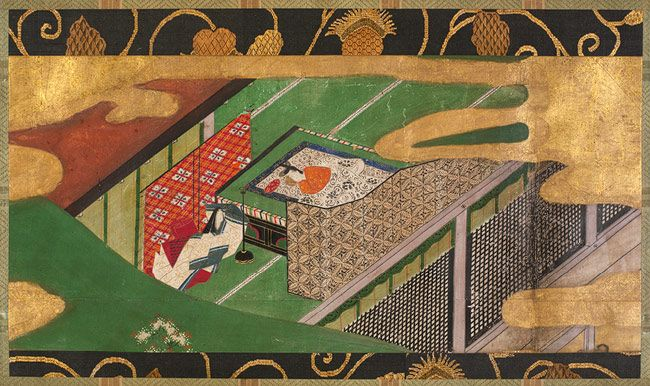 "Scene from ""The Ivy"" (Yadogiri): Chapter 49 of The Tale of Genji, Edo period (1615–1868), early 17th century Studio of Tawaraya Sotatsu (Japanese, died ca. 1640)"