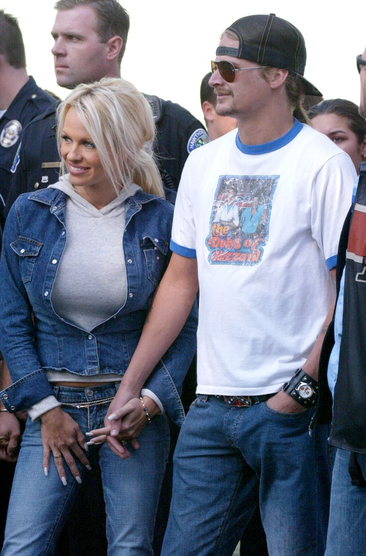 HAWTHORNE, CA - OCTOBER 27:  Musician Kid Rock and actress Pamela Anderson attend the American Liver Foundation's S.O.S. ride to raise money for Hepatitis C research on October 27, 2002 in Hawthorne, California.  (Photo by Frazer Harrison/Getty Images) via @AOL_Lifestyle Read more: https://www.aol.com/article/entertainment/2017/04/04/pamela-anderson-coco-de-mer-lingerie/22025382/?a_dgi=aolshare_pinterest#fullscreen