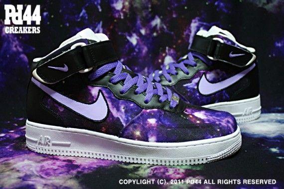 Custom galaxy Nike air force one mids. Sweet!