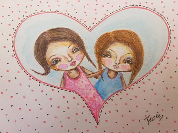 Check out this item in my Etsy shop https://www.etsy.com/au/listing/538854917/whimsical-painting-best-friends-sisters #bestfriends #whimsicalgirls #sisters