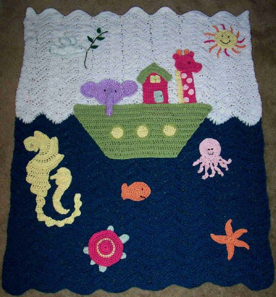 This is a second pin cuz the other picture was way too light. My Noah's Ark baby blanket I crocheted :)