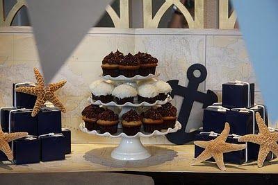 cupcake stand: Shower Ideas, Nautical Shower, Favors Boxes, Parties Ideas, Nautical Party, Nautical Baby Showers, Nautical Theme, Nautical Parties, Baby Shower