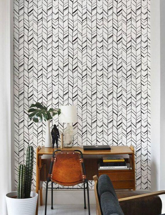 Zwart-wit visgraat patroon verwisselbare Wallpaper / door Betapet
