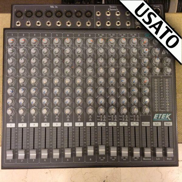 Mixer Etek MX 1604S Usato Mixer Usato 8 canali microfonici + 4 stereo + effetti Etek MX 1604S con borsa inclusa nel prezzo.