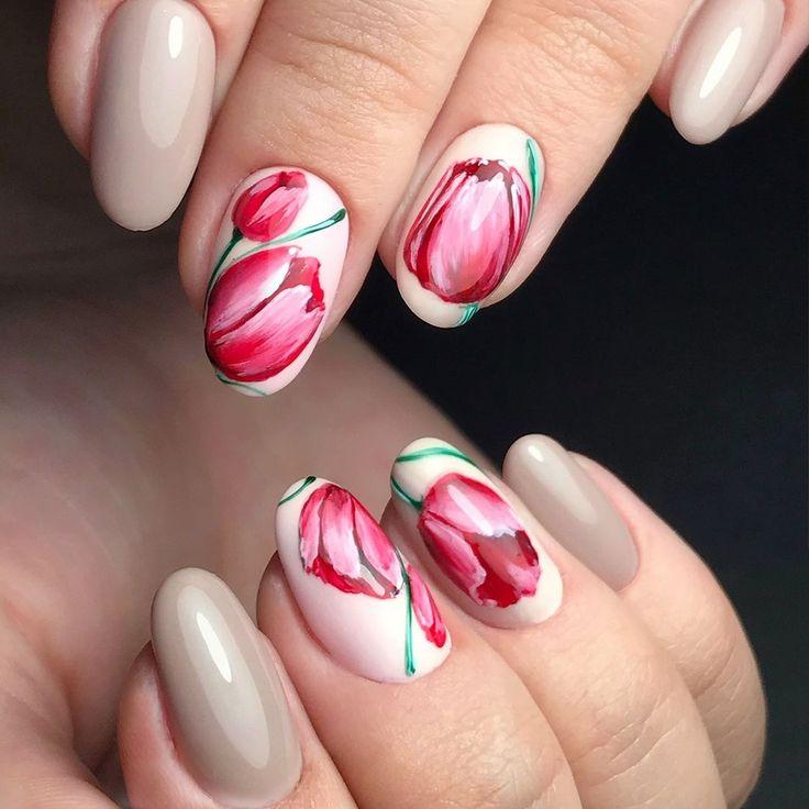 рукавах дизайн ногтей с тюльпанами фото его