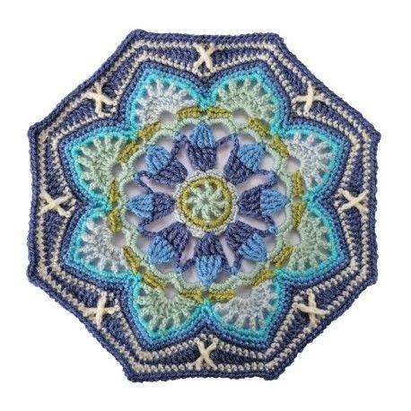 Jane Crowfoot's amazing Persian Tile blanket kit in the light blue colourway
