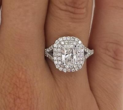2.00 Ct Diamante Corte D SI1 Cojín Halo Anillo de compromiso solitario oro blanco 14K