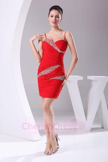 Spaghetti Straps Sheath/Column Mini/Short Dress with Ruffles Beading