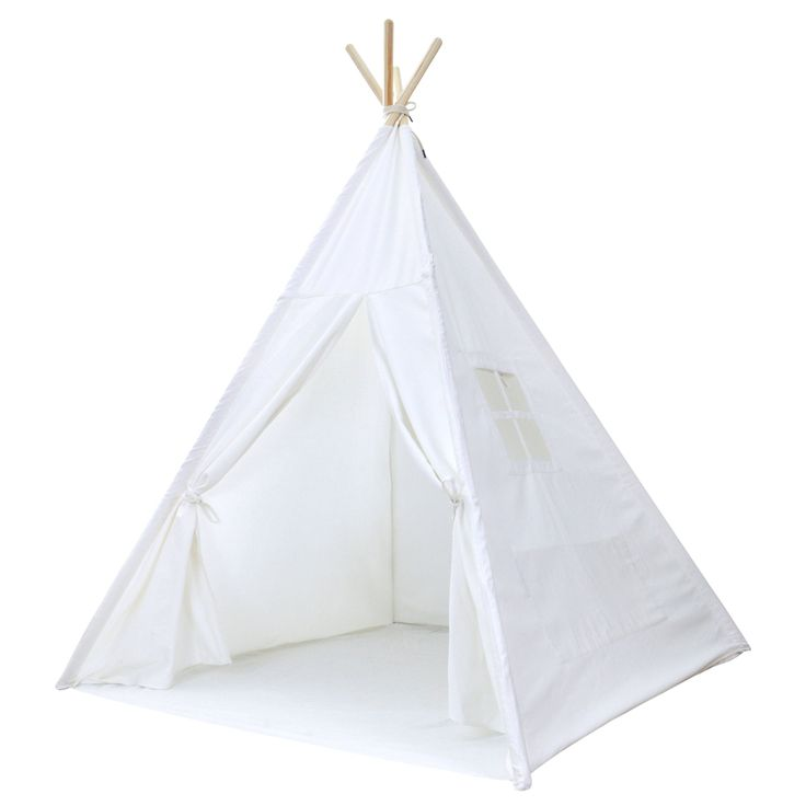 """White Canvas Teepee Tent for Kids - Portable Cotton Tent (No Extra Chemicals), Includes Carrying Case, Perfect for Painting or Decorating in Your Own Style, Great for Pretend Play. This High Quality, Machine Washable, Heavy Canvas Tent with Hardwood Poles Has Plenty of Room for Adults and Kids (62"""" tall, 48""""x48"""" base when set up). Great for Decorating in Your Own Style: If you or your kids are artistic, they are great for decorating with paint, felt embellishments, or other colorful…"""