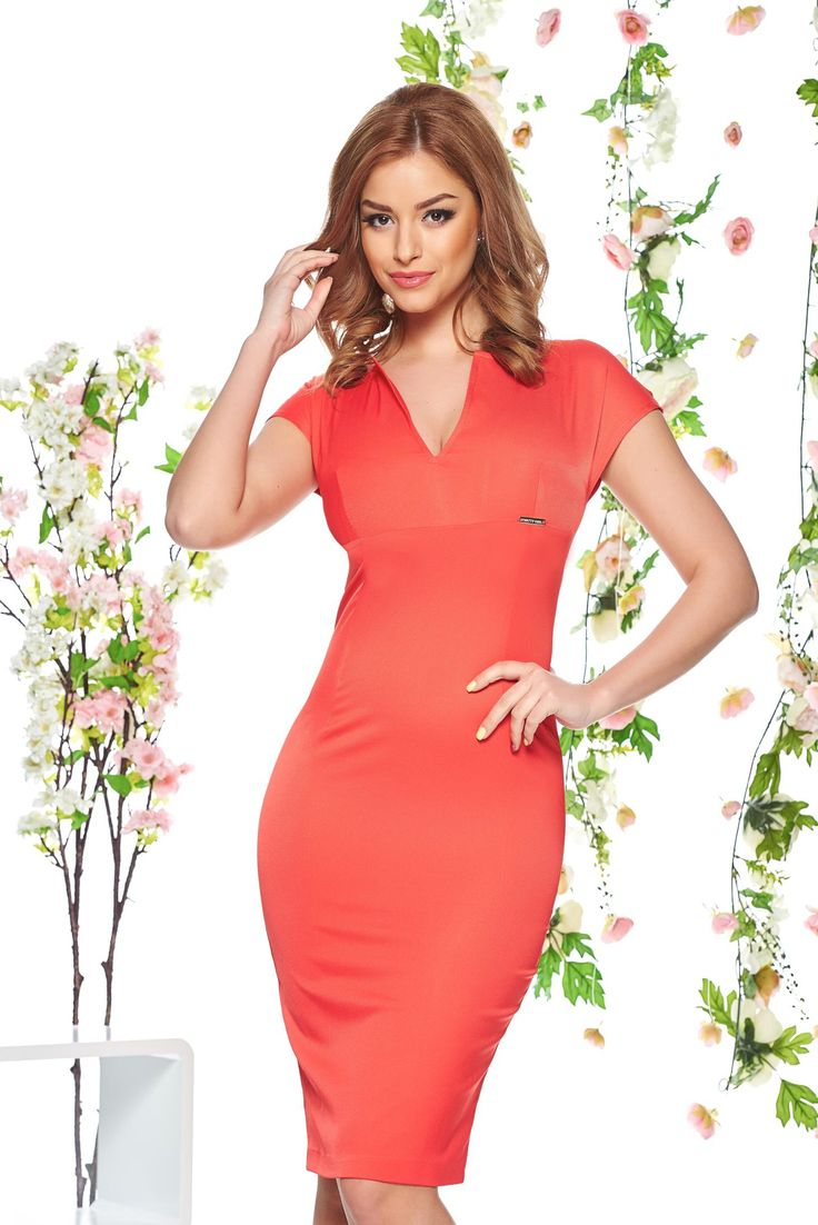 "PrettyGirl Delicate Look Coral Dress, ""V"" cleavage, form-fitting, back zipper fastening, slightly elastic fabric"