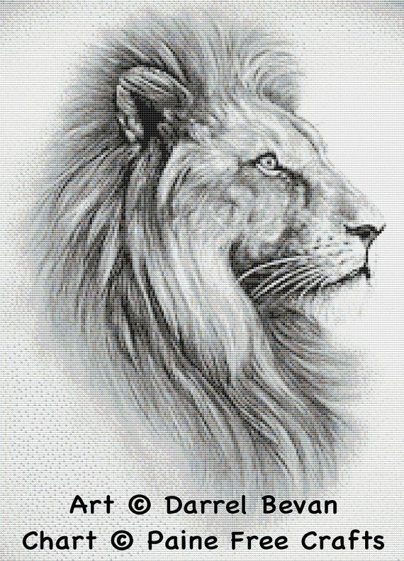 Lion – high quality emailed PDF cross stitch chart / pattern, original art by Darrel Bevan