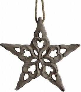 Dřevěná vyřezávaná hvězda malá CAROLA, šedá
