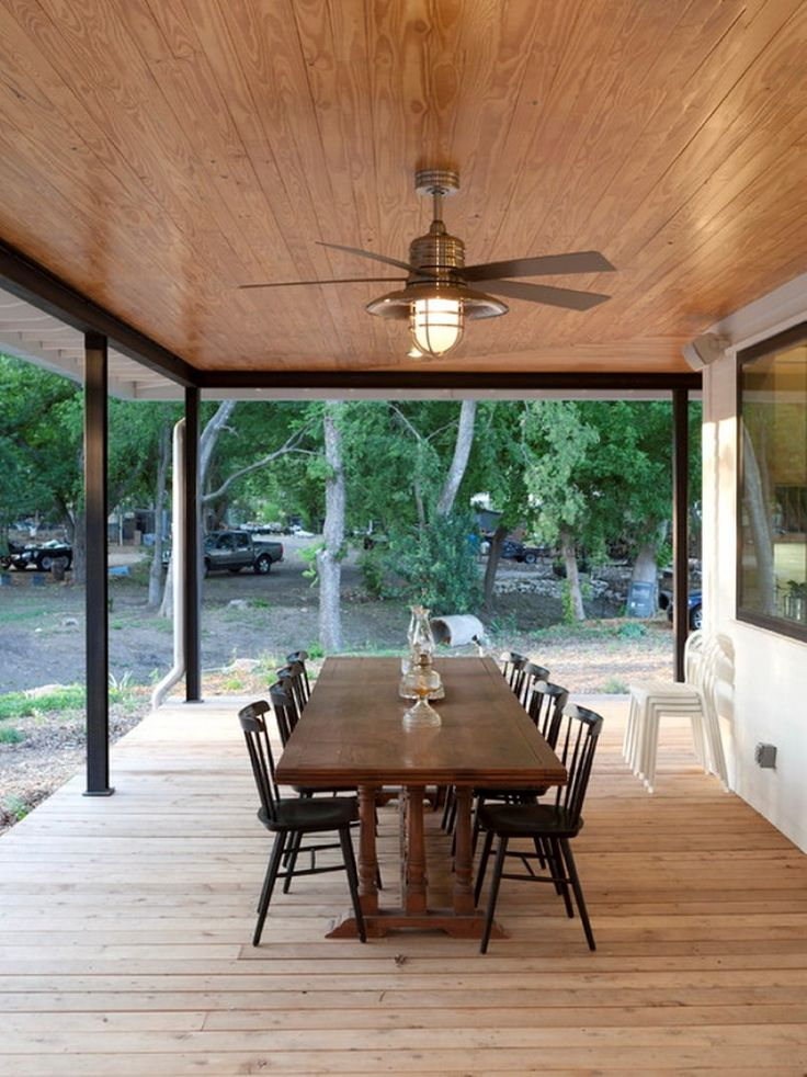 Gorgeous Flush Mounted Ceiling Fan Design Over Brown Wooden Outdoor Patio  Dining Table Set On Wood