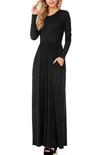 b2d455358a47 awesome HyBrid   Company H C Women Long Sleeve Loose Plain Maxi Dress  Casual Long Dresses With Pockets